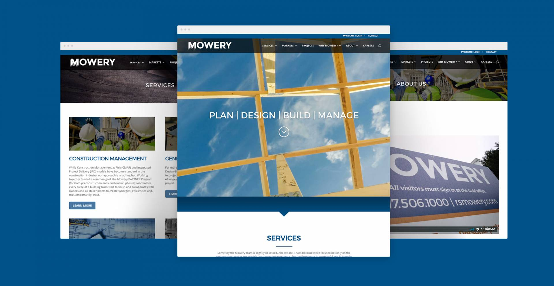 Mowery Construction website page designs
